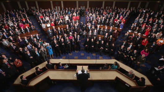 President Barack Obama delivers his State of the Union speech before a joint session of Congress on Feb. 12, 2013, in Washington.