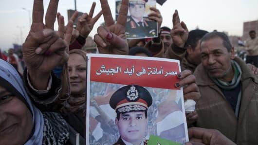 Supporters of Egyptian Defense Minister Abdel Fattah al-Sisi