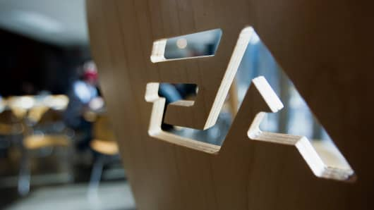 Electronic Arts (EA) signage is displayed on the back of a chair at the company's campus in Burnaby, British Columbia, Canada.