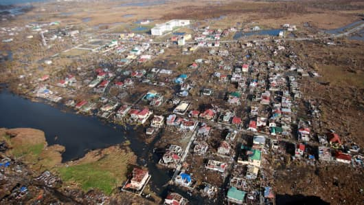 The coastal city of Tacloban in the Philippines after Typhoon Haiyan