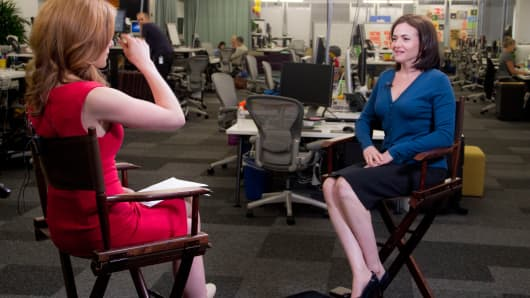 Facebook Chief Operating Officer Sheryl Sandberg with CNBC's Julia Boorstin in an interview in 2012.