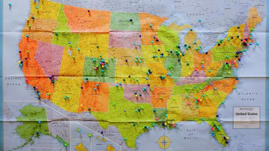 A map showing the states where customers have come from is displayed at a marijuana dispensary in Denver.