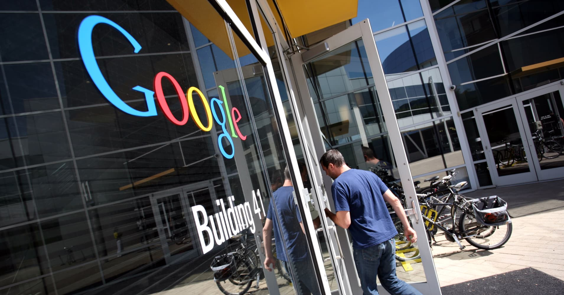 The Google logo is seen at the Google headquarters in Mountain View, California.