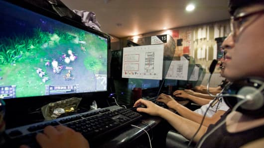 "Video game enthusiasts play ""League of Legends."""