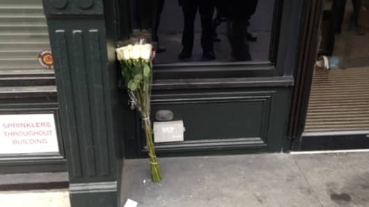 Flowers were left outside the residence of actor Philip Seymour Hoffman who was pronounced dead of an apparent overdose on Feb. 02, 2014.