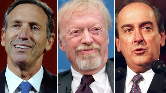 From left, Howard Schultz, Phil Knight and Roberto Goizueta