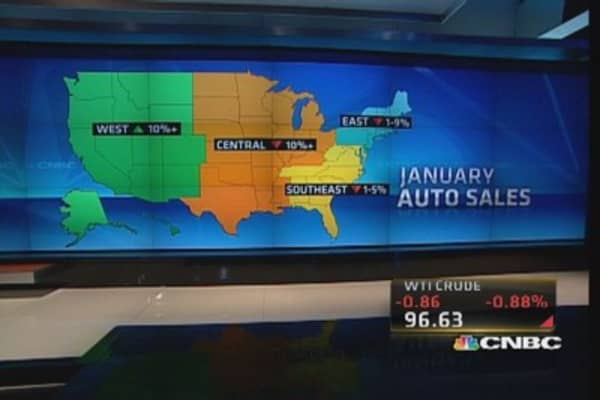Annual auto sales pace hit by weather