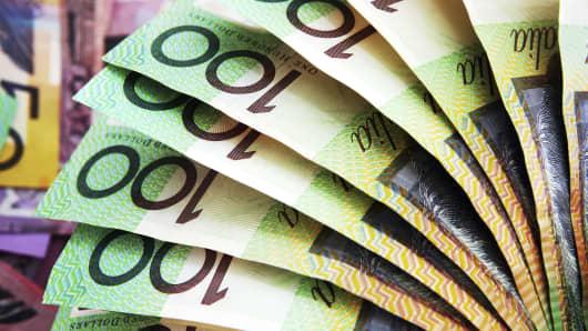Fan of one hundred dollar Australian banknotes.