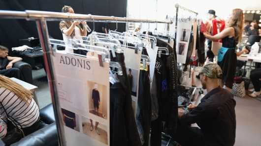 A look behind the scenes at The Launch of the Brian Lichtenberg Luxury Collection during Mercedes-Benz Fashion Week at Chelsea Studios in September 2013 in New York.