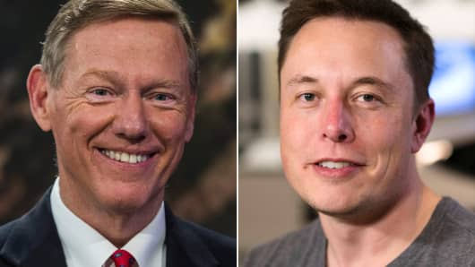 Alan Mulally, president and CEO of Ford Motor Co. and Elon Musk, CEO of Tesla Motors.