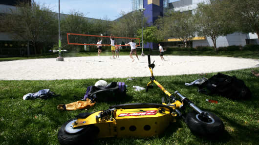 Google employees play volleyball on the company campus in Mountain View, California.