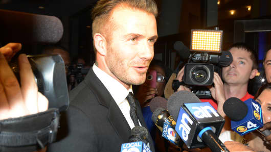 David Beckham is sighted arriving to the James L. Knight Center, February 4, 2014 in Miami Beach, Florida.