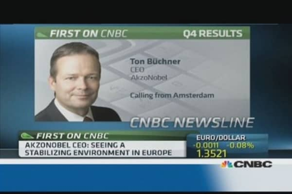 'Fragile stabilization' in Europe happening: AkzoNobel CEO