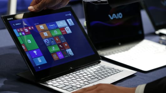 A Sony Vaio Duo laptop computer, running Microsoft's Windows 8.1 operating system.