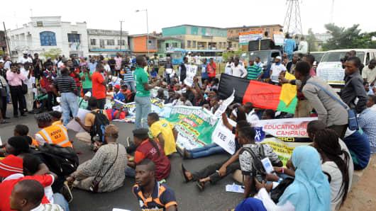 Protestors in Lagos, Nigeria.