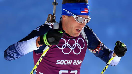 Biathlete Tim Burke of the U.S. during an Olympic training session in Sochi, Russia.