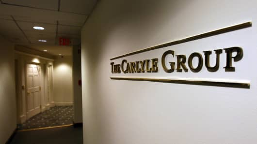 A sign for the Carlyle Group, a private equity firm, in Washington, DC.