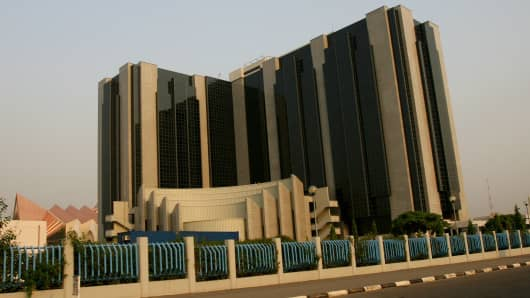 The Nigerian Central Bank is seen in Abuja, Nigeria, Monday, December 11, 2006.
