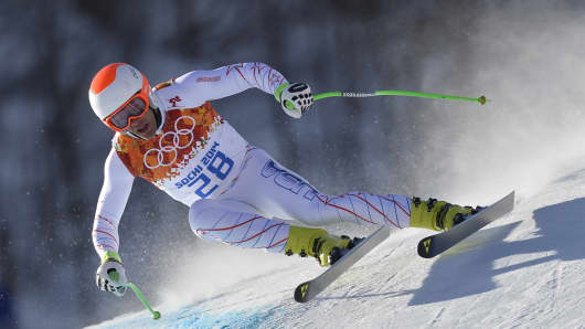 US skier Steven Nyman takes part in a training session in Sochi