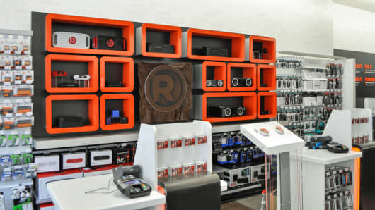 Speaker wall at a Radio Shack concept store in New York City.