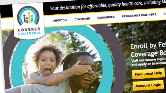 The Covered California website. The state's marketplace has been a notable bright spot amid the ACA's rollout troubles.
