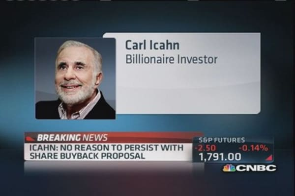 Icahn No reason to persist with share buyback