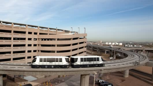 In April 2013, Phoenix Sky Harbor International Airport's Sky Train began service between the airport's busiest terminal and Valley Metro Light Rail.