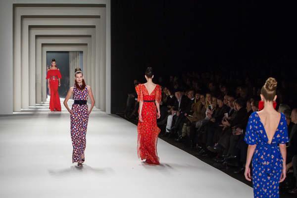 Models walk the runway during the Carolina Herrera fashion show at MBFW Fall 2014.