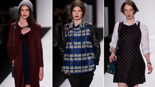 Models walk the runway during the Rebecca Minkoff fashion show at MBFW Fall 2014.