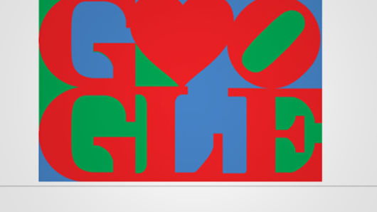 "Investors ""heart"" Google right now. Here, Google's Valentine doodle from 2011, a play on Robert Indiana's LOVE sculpture."