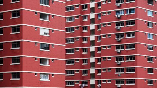 A row of public housing blocks in the Redhill area of Singapore