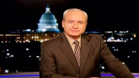 """Brian Patrick on the set of """"EWTN News Nightly With Colleen"""