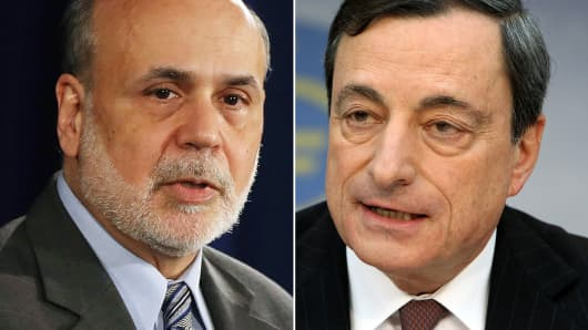 Former Federal Reserve Chairman, Ben Bernanke and president of the European Central Bank, Mario Draghi.