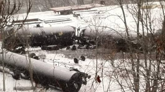 Derailed Norfolk Southern train in western Pennsylvania, Thursday morning, February 13, 2014