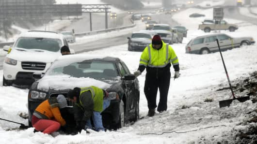 Hundreds of cars were abandoned overnight around the North Carolina triangle as motorists encountered icy conditions.