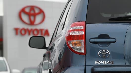 A 2012 Toyota Rav4 at a dealership.