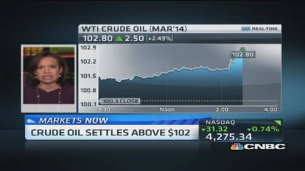 Crude oil settles above $102