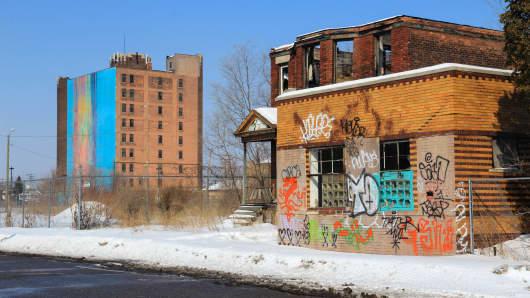 Detroit street scene, February 2014.