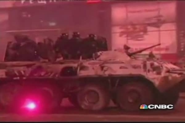 Ukranian armored vehicle torched by protesters