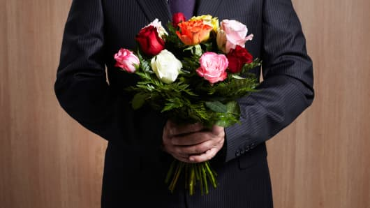 Businessman flowers