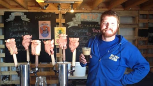 Steve McCauley, co-owner of Frothy Beard Brewing.