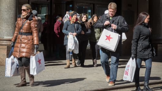Shoppers outside Macy's in Herald Square, New York.