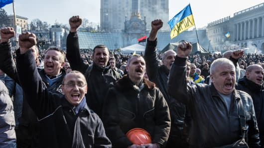 Anti-government protesters gather at Kiev's Independence Square.