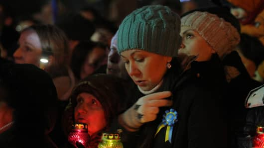 Thousands of Ukrainian people attend a rally and listen as former Ukrainian Prime Minister Yulia Tymoshenko delivers a speech after her release in Kiev, Ukraine on February 22.