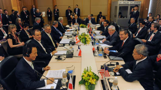 Trade ministers and representatives attend the TPP  Ministerial Meeting in Singapore on February 22, 2014.