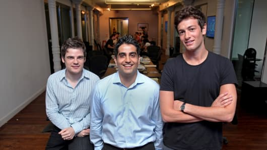 (Left to right) Mario Schlosser, Kevin Nazemi and Josh Kushner of Oscar