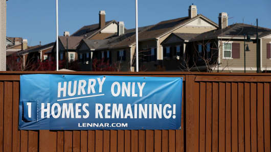 A sign advertising available homes is posted at a housing development in Dublin, California.