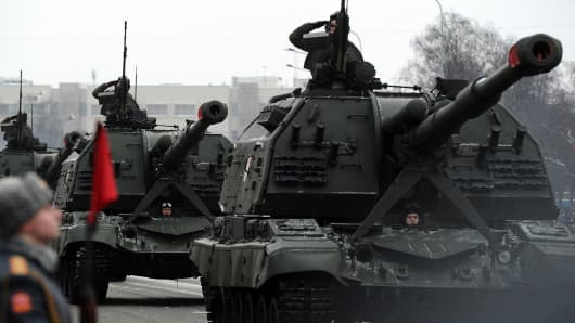 Russian howitzers during a military parade earlier this year