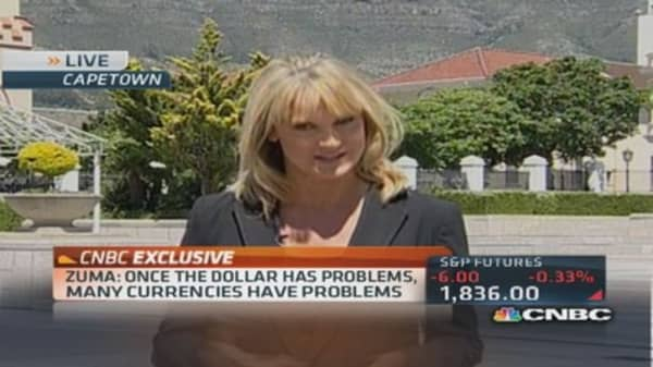 South Africa's Zuma on currencies