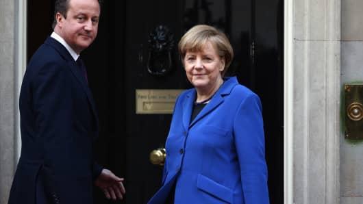 German Chancellor Angela Merkel and Britain's Prime Minister David Cameron
